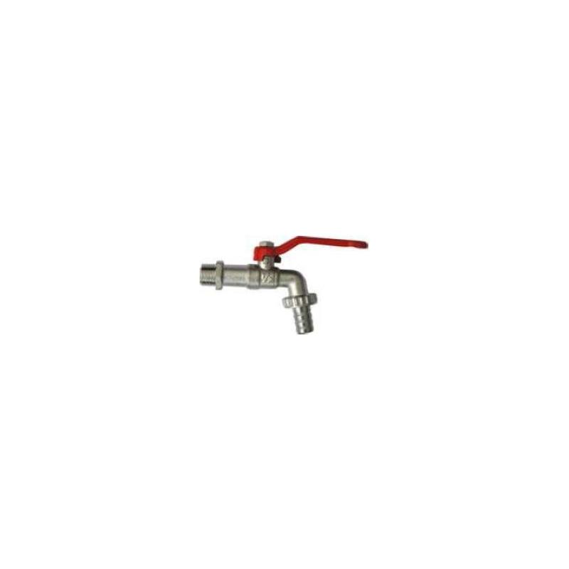 Robinet de puisage nickelé à sphère, poignée acier rouge, 3/4'x3/4' - Tétine Ø15