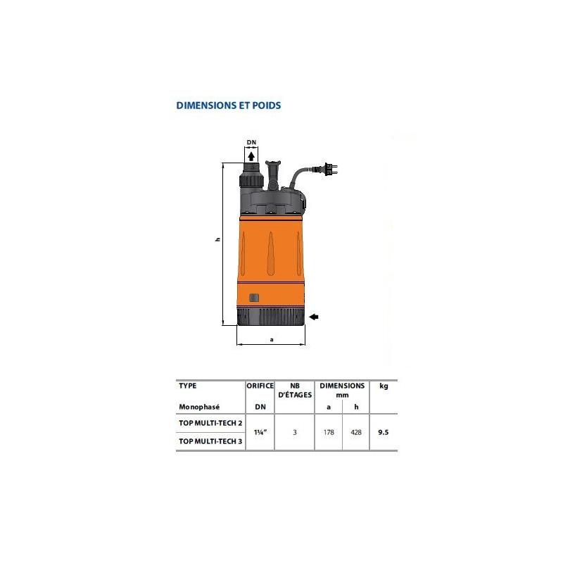Pompe immergée - 230V - 0.55Kw Multi Tech
