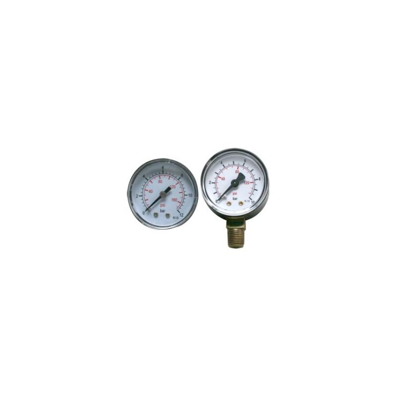 """Manomètre sec Axial 0 - 10 bars 1/4"""" GAS"""
